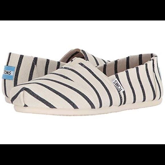Toms Shoes - TOMS Classic White/Navy Riviera Stripe Sz 8
